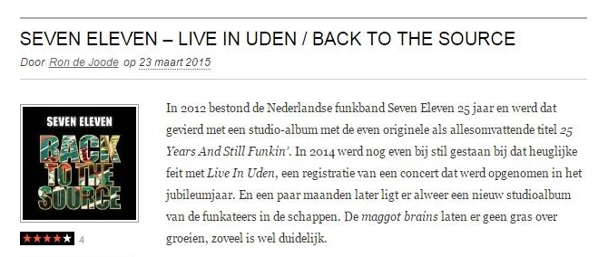 Seven Eleven - Live in Uden - Back to the Source ( WIM 23 mrt 2015)
