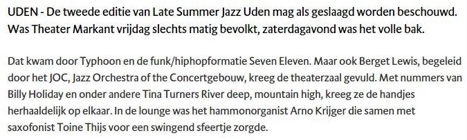 BD 20-09-15 Late Summer Jazz Uden met veel hoogtepunten